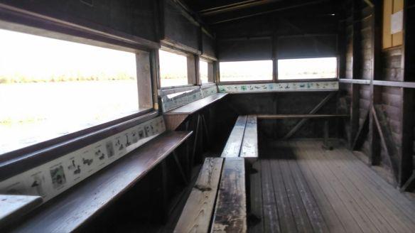 caseta puesto de observacion madera especies humedal salburua