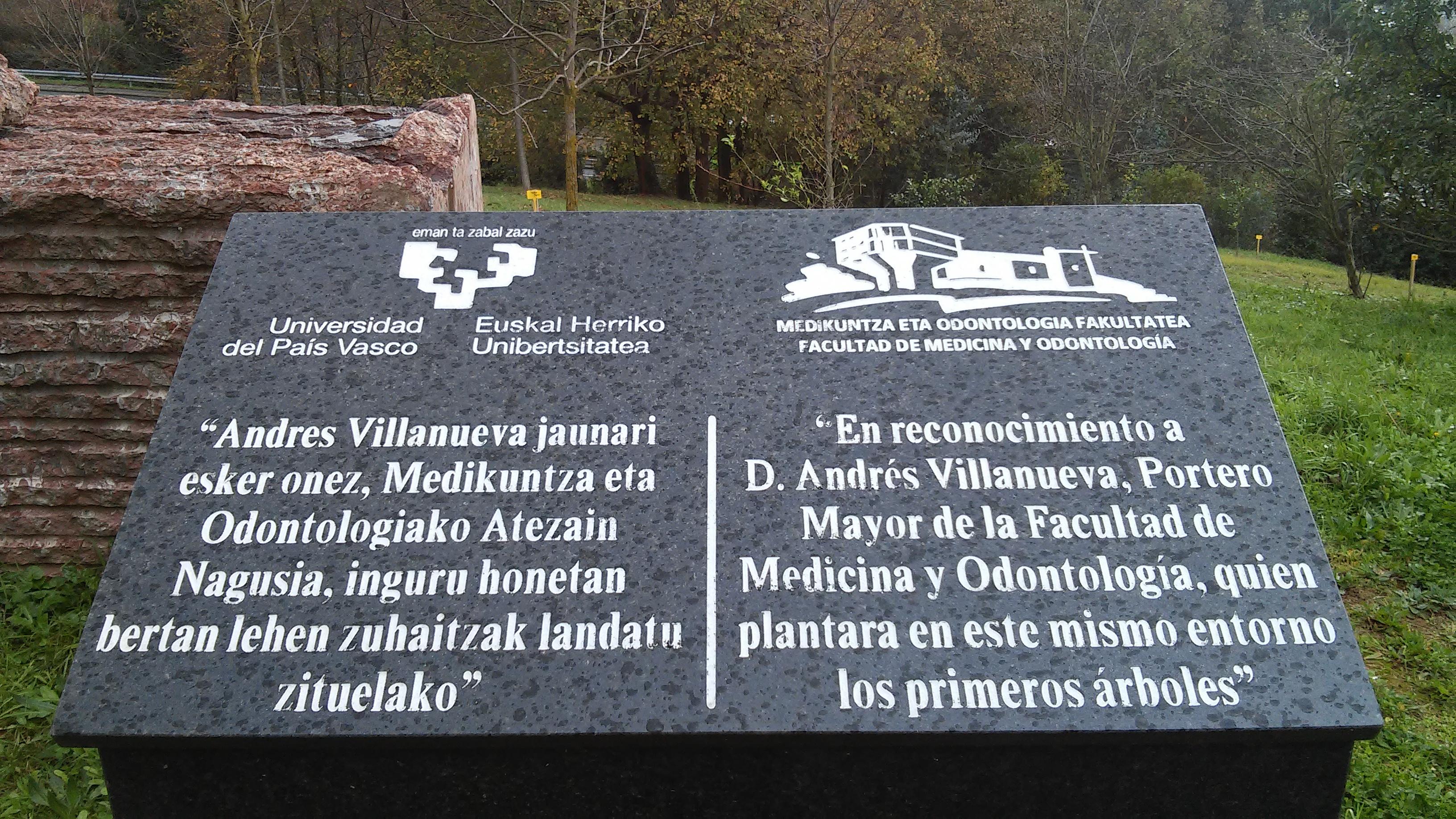 Placa UPV/EHU UPV EHU Arboles Arboretum Leioa